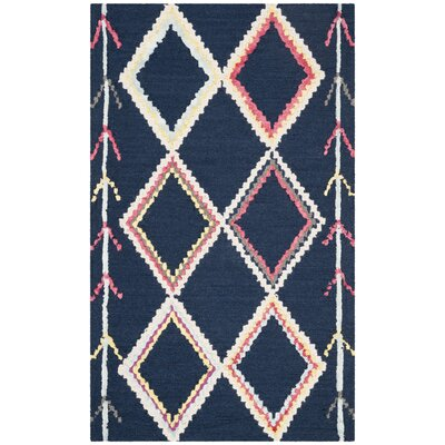 Juney Hand-Tufted Wool Navy Area Rug Rug Size: Rectangle 3 x 5