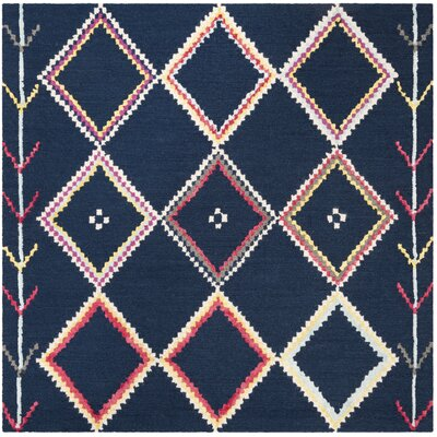 Juney Hand-Tufted Wool Navy Area Rug Rug Size: Square 5