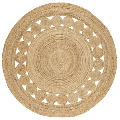 Mindy Hand-Woven Natural Area Rug Rug Size: Round 4