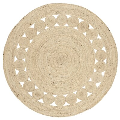Venessa Hand-Woven Ivory Area Rug Rug Size: Round 6'