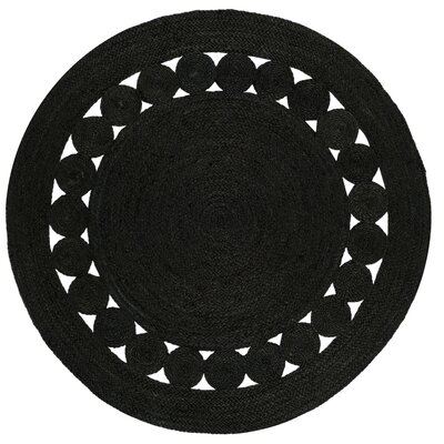 Johna Hand-Woven Black Area Rug Rug Size: Round 4