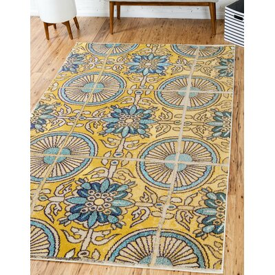 Fujii Gold Area Rug Rug Size: Rectangle 5 x 8