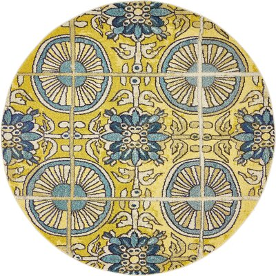 Fujii Gold Area Rug Rug Size: Round 6