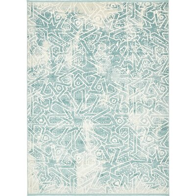 Sherrill Blue Geometric Area Rug Rug Size: Rectangle 5 x 8