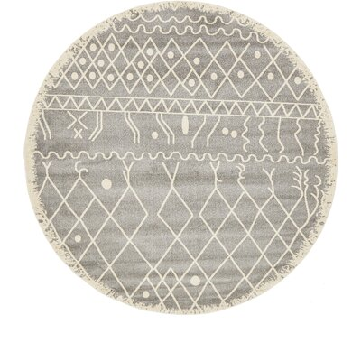 Foxhill Gray Area Rug Rug Size: Round 8