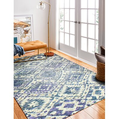 Rosetta Viscose Pile Hand-Woven Cotton Gray/Blue Area Rug Rug Size: Runner 26 x 8