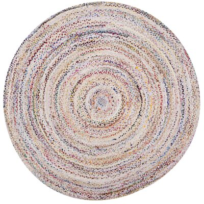 Hurst Hand-Woven Cotton Ivory Area Rug Rug Size: Round 8