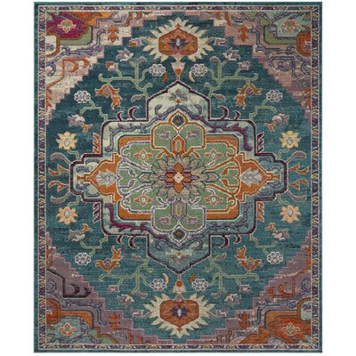 Gonzalez Teal/Rose Area Rug Rug Size: Rectangle 10 x 14