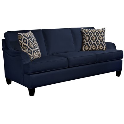 Elsinore Sofa Body Fabric: Gaberdine Navy, Pillow Fabric: Mod Ikat Gray