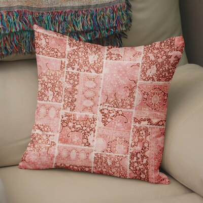 Duane Patchwork Throw Pillow Size: 16 H x 16 W x 6 D, Color: Peach/ Ivory