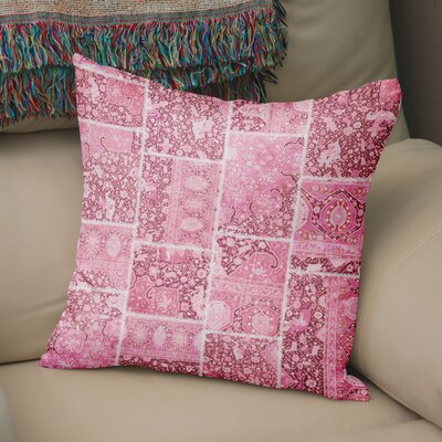 Duane Patchwork Throw Pillow Size: 16 H x 16 W x 6 D, Color: Pink, Ivory