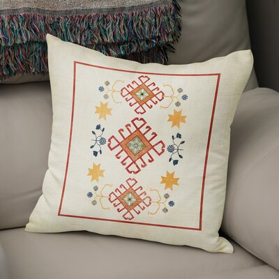 Yvonne Distressed Throw Pillow Size: 16 H x 16 W x 5 D, Color: Ivory/ Yellow/ Red