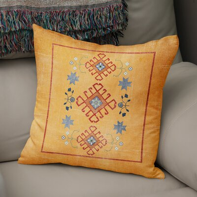 Yvonne Distressed Throw Pillow Size: 16 H x 16 W x 5 D, Color: Orange/ Blue Red