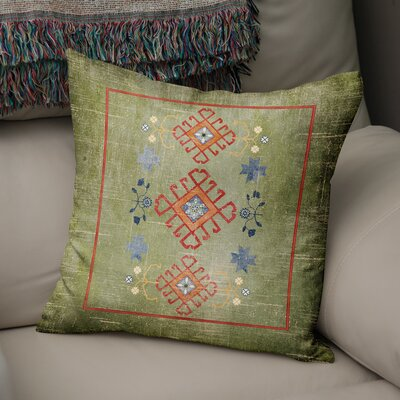 Yvonne Distressed Throw Pillow Size: 16 H x 16 W x 5 D, Color: Green/ Red