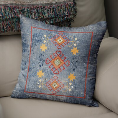 Yvonne Distressed Throw Pillow Size: 16 H x 16 W x 5 D, Color: Blue/ Yellow/ Red