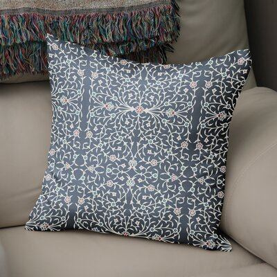 Elizebeth Throw Pillow Color: Grey/ Ivory, Size: 16 x 16