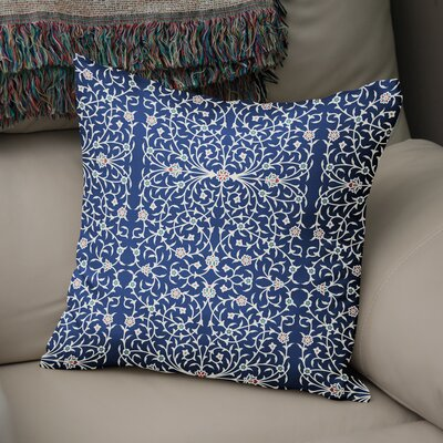 Elizebeth Throw Pillow Color: Blue/ Ivory, Size: 16 x 16