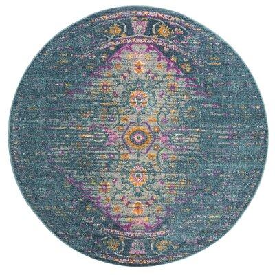 Esparza Blue Area Rug Rug Size: Round 67