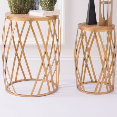 Karyen Criss Cross 2 Piece End Table Set