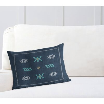 Touete Lumbar Pillow Color: Blue/ Navy, Size: 12 x 16