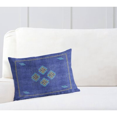 Stellan Kilim Lumbar Pillow Color: Indigo/ Blue/ Yellow, Size: 18 x 24