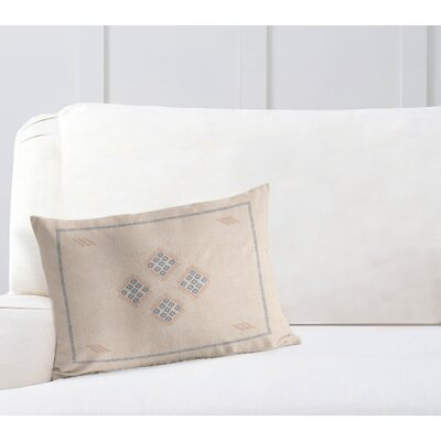 Stellan Kilim Lumbar Pillow Color: Cream/ Blue, Size: 12 x 16