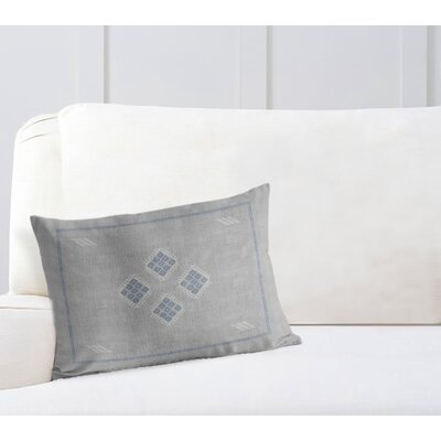 Stellan Kilim Lumbar Pillow Color: Grey/ Blue, Size: 12 x 16
