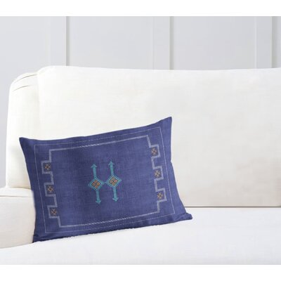 Stellan Silk Lumbar Pillow Color: Indigo/ Blue/ Orange, Size: 18 x 24