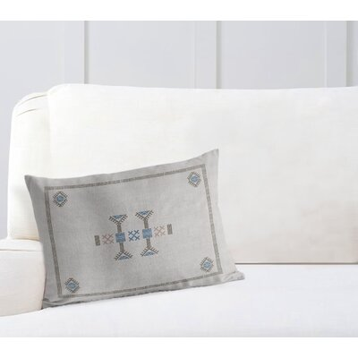 Zoe Kilim Lumbar Pillow Color: Grey/ Blue, Size: 12 x 16