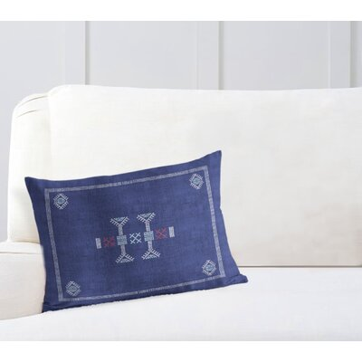 Zoe Kilim Lumbar Pillow Color: Indigo/ Red, Size: 12 x 16