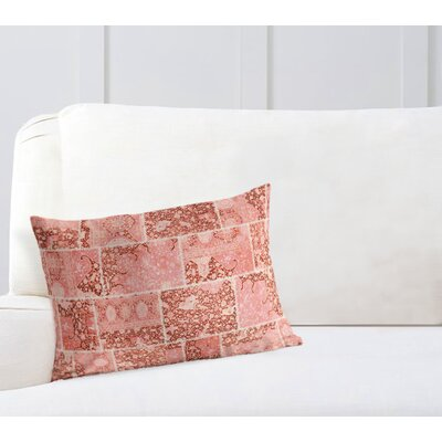 Duane Patchwork Lumbar Pillow Size: 18 H x 24 W x 6 D, Color: Peach/ Ivory
