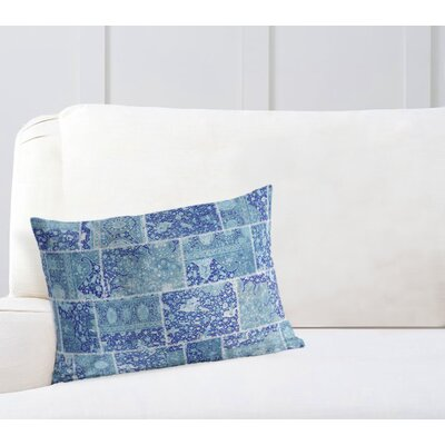 Duane Patchwork Lumbar Pillow Size: 12 H x 16 W x 6 D, Color: Blue/ Purple/ Ivory