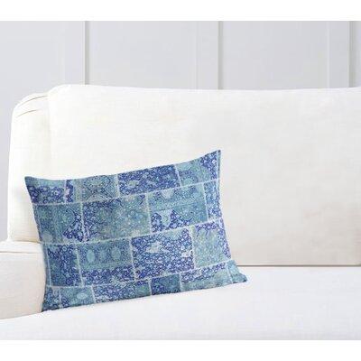 Duane Patchwork Lumbar Pillow Size: 18 H x 24 W x 6 D, Color: Blue/ Purple/ Ivory