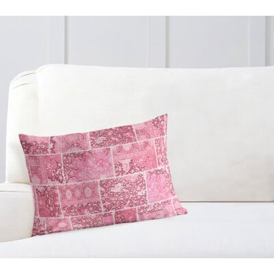 Duane Patchwork Lumbar Pillow Size: 12 H x 16 W x 6 D, Color: Pink, Ivory