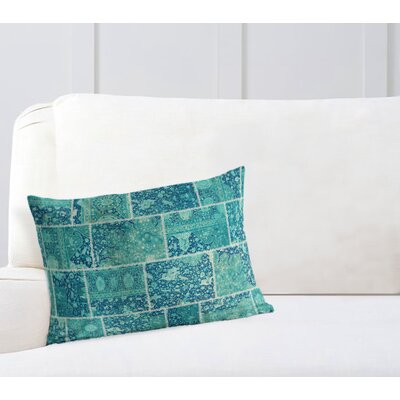 Duane Patchwork Lumbar Pillow Size: 12 H x 16 W x 6 D, Color: Turquoise, Teal/ Ivory
