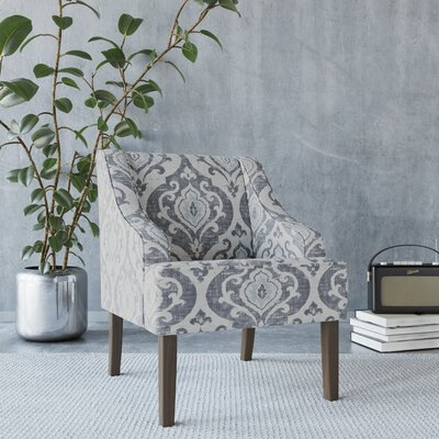 Edmund Swoop Armchair Upholstery: Suri Blue, Finish: Gray Washed