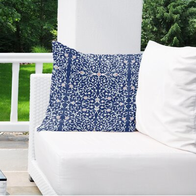 Elizebeth Indoor/Outdoor Euro Pillow Color: Blue/ Ivory