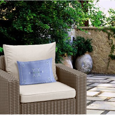 Zoe Outdoor Lumbar Pillow Color: Blue
