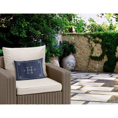 Zoe Outdoor Lumbar Pillow Color: Blue/ Navy