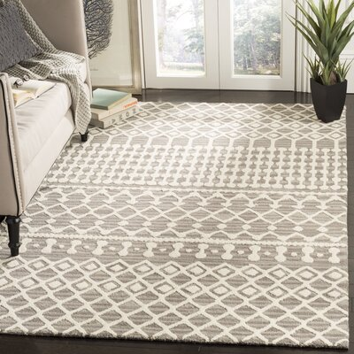 Betancourt Hand-Woven Wool Dark Gray/Ivory Area Rug Rug Size: Square 6