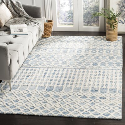 Betancourt Hand-Woven Wool Blue/Ivory Area Rug Rug Size: Rectangular 4 x 6