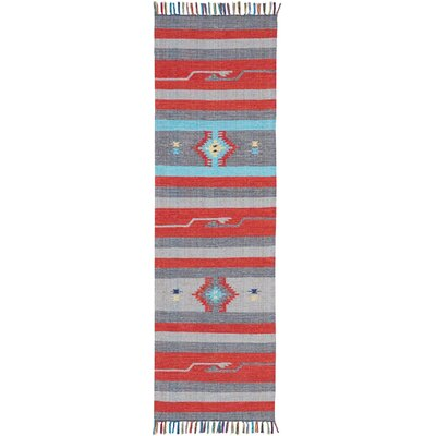 Rocky Hand Woven Gray/Red Area Rug Rug Size: Runner 23 x 76