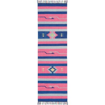 Rocky Hand Woven Pink/Blue Area Rug Rug Size: Runner 23 x 76