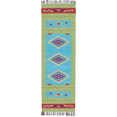 Rocky Hand Woven Blue/Green Area Rug Rug Size: Runner 23 x 76