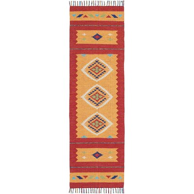 Rocky Hand Woven Orange/Red Area Rug Rug Size: Runner 23 x 76