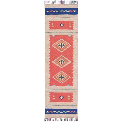 Rocky Hand Woven Red/Beige Area Rug Rug Size: Runner 23 x 76