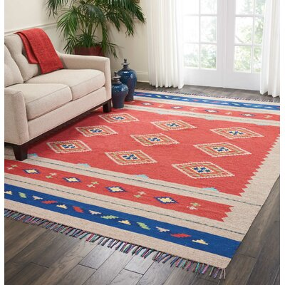 Rocky Hand Woven Red/Beige Area Rug Rug Size: Rectangle 36 x 56