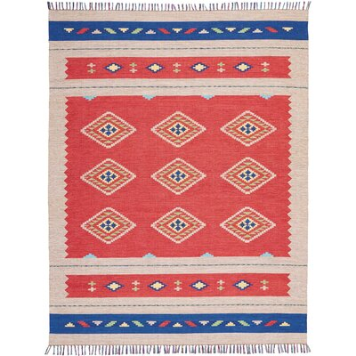 Rocky Hand Woven Red/Beige Area Rug Rug Size: Rectangle 66 x 96
