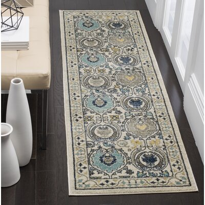 Aegean Ivory/Gray Area Rug Rug Size: Runner 22 x 9