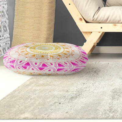 Kangana Round Indoor/Outdoor Floor Pillow Color: Purple/ Pink/ Ivory, Size: 23 H x 23 W